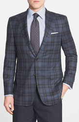 Hickey Freeman 'Traveler' Classic Fit Plaid Wool Sport Coat Blue
