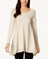 Studio M Pointelle Trim Trapeze Sweater