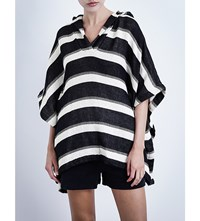 Solid And Striped The Beach Cape Cotton Blend Poncho Black And White Stripe