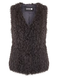 Mint Velvet Shearling Gilet Grey