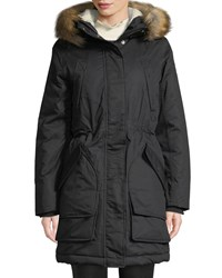 Hunter Insulated Parka W Detachable Faux Fur Trim Black