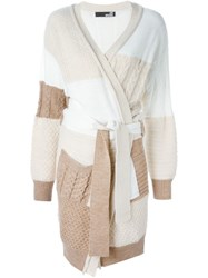 Love Moschino Cable Knit Cardi Coat Nude And Neutrals