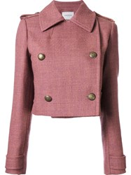 Lanvin Cropped Button Up Jacket Pink And Purple