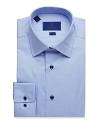 David Donahue Trim Fit Textured Dress Shirt Blue