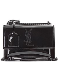Saint Laurent Small Sunset Monogram Patent Leather Shoulder Bag Black
