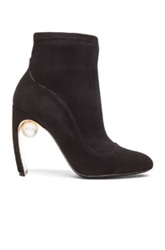 Nicholas Kirkwood 105Mm Maeva Suede Pearl Ankle Booties In Black