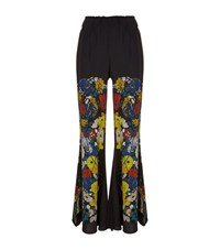 Sandro Blossom Floral Print Wide Trousers Female Black