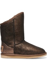 Australia Luxe Collective Cosy Short Metallic Ankle Shearling Boots Copper