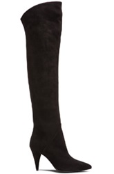 Saint Laurent Thigh High Cat Suede Boots In Black