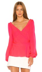 Milly Hallie Wrap Top In Pink. Bombshell Pink
