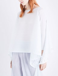 Issey Miyake Sheer Lace Pleated Tunic Top Ice White