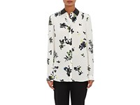 Proenza Schouler Women's Leather Trimmed Floral Print Crepe Blouse White
