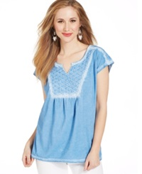 Style And Co. Mineral Wash Peasant T Shirt Passion Blue