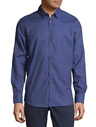 Report Collection Small Check Button Down Shirt Cobalt