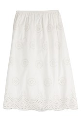 Red Valentino Embroidered Cotton Midi Skirt White
