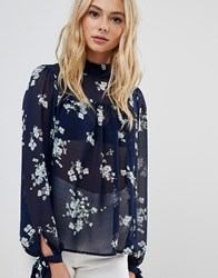 Urban Bliss Floral Blouse With Tie Neck Navy