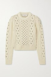 Michael Kors Collection Embellished Cable Knit Cashmere Sweater Cream