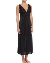 Natori Slinky Lace Front Long Gown Black