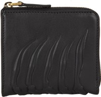 Alexander Mcqueen Rib Cage Embossed Zip Pouch Black