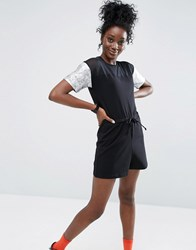 Asos Playsuit With Mesh Panel And Foil Sleeves Black Multi
