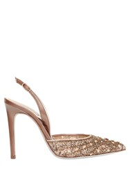 Rene Caovilla 105Mm Swarovski And Lace Sling Back Pumps