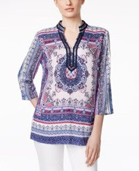 Charter Club Embellished Printed Tunic Only At Macy's Crushed Peony