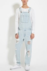 Forever 21 Distressed Denim Overalls Denim Washed