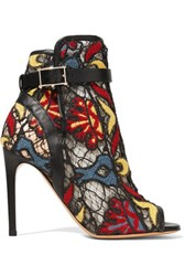 Valentino Leather Trimmed Appliqued Mesh Ankle Boots Multi
