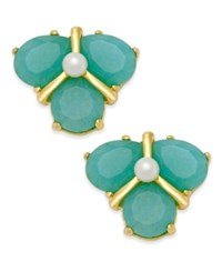 Kate Spade New York Gold Tone Color Stone And Imitation Pearl Cluster Stud Earrings Green