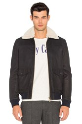 Scotch And Soda Leather Bomber Jacket With Faux Sherpa Lining Black