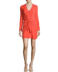 3.1 Phillip Lim Long Sleeve Knotted Sheath Dress Poppy