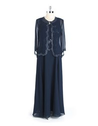 J Kara Two Piece Beaded Gown Navy Gunmetal