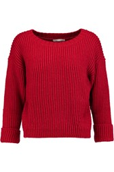 Rebecca Minkoff Giles Cropped Ribbed Wool Blend Sweater Red