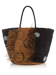 Sensi Studio Toquilla Straw Frayed Tote Black Multi