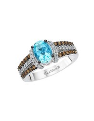 Le Vian Chocolatier Vanilla Diamond Chocolate Diamond Aquamarine And 14K White Gold Ring Blue