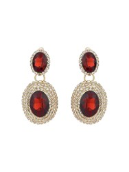 Mikey Twin Oval Stone Marquise Drop Clip On Ea Red