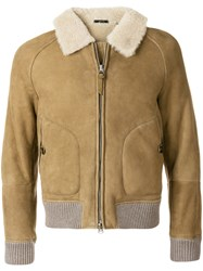 Tom Ford Shearling Bomber Jacket Sheep Skin Shearling Cupro Nude Neutrals