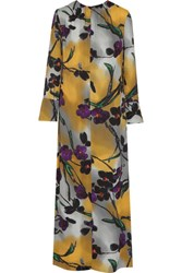 Marni Floral Print Crepe Maxi Dress Yellow