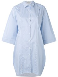 Balossa White Shirt Oversize Button Women Cotton 40 Blue