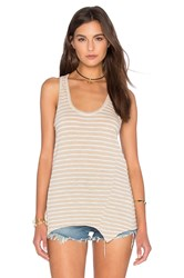 Heather Stripe Racerback Tank Beige