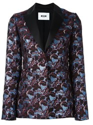 Msgm Shimmer Effect Floral Print Dinner Jacket Blue
