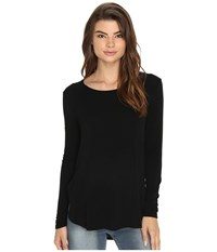 Rvca Label Long Sleeve Crew Neck Top Black Women's Long Sleeve Pullover