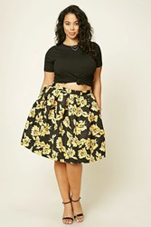 Forever 21 Plus Size Pleated Floral Skirt Black Mustard