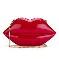 Lulu Guinness Women's Large Perspex Lips Clutch Bag Red
