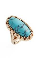 Metal Stone Women's And Claw Wrapped Oblong Ring Gold Turquoise