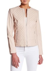 Cole Haan Quilted Genuine Leather Jacket Pink