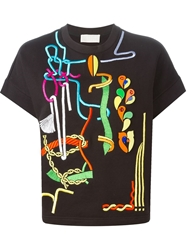 Peter Pilotto Embroidered Short Sleeved Sweatshirt Black