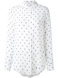 Equipment Bee Print Shirt Women Silk M White