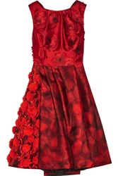 Oscar De La Renta Embellished Fil Coupe And Printed Silk Gazar Dress Red