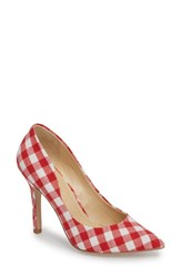 Charles By Charles David 'S Maxx Pointy Toe Pump Red White Gingham Fabric
